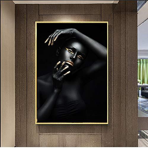 sanzangtang Gold schöne Schwarze afrikanische nackte Frau Leinwand Malerei Poster und Drucke skandinavischen Wand Pop-Art Bild für Wohnzimmer Dekoration rahmenlose 70x105cm