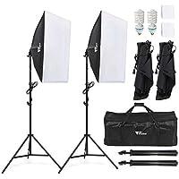 Amzdeal Softbox Focos Kit Iluminacion Fotografia con 2 Ventana de Luz 135W, 2 Softbox 50x70cm, 2 Tripodes Luz Continua para Estudio Fotográfico Profesional