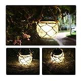 LIIDA Solar Jar Led Lights, Jute Rope Glass Jar Lamp for Garden Lighting, Solar Led Lantern for Table Wedding Decoration