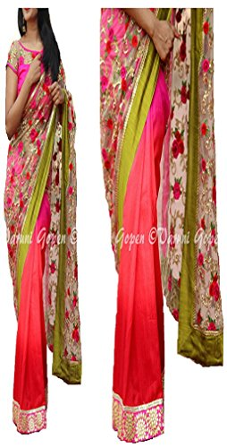 Sunshine Fashion Georgette Saree With Blouse Piece (Sunsa1940_Pink_Free Size)