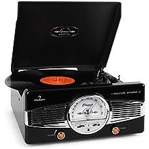 auna • MG-TT-82B • Retroanlage • Stereoanlage • Plattenspieler • Riemenantrieb • max. 45 U/min • Stereo-Lautsprecher • 50er Design • Start-Stopp-Automatik • Radio-Tuner • UKW-Empfänger • Frequenzbandanzeige • Wurfantenne • Lautstärkeregler • Cinch • schwarz