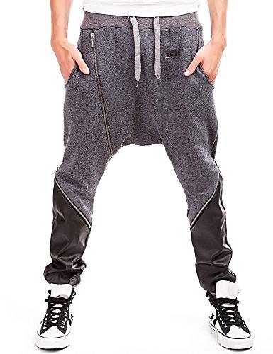 BS7 Herren Hosen Sport Jogging Freizeit Hose Trainingshosen Fitness Sportbekleidung günstig mit Lederlook Patches 2872, Größe:S;Farbe:Anthrazit