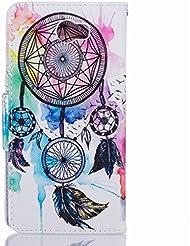 Funda Huawei Y5II / Huawei Y5 2 Carcasa, Ougger Dreamcatcher Premium Billetera PU Cuero Magnética Stand Silicona Flip Piel Bumper Protector Tapa Cover Case con Ranura para Tarjetas