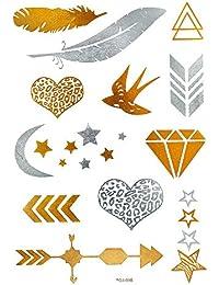 Chic-Net hoja tatuaje patrón plata dorada temporalmente Leo joyería del diamante corazón tatuajes adhesivos Tatuajes