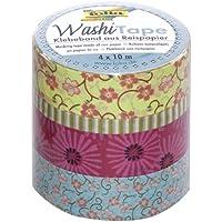 Folia 26405 Washi Tape - Cinta adhesiva decorativa, diseño de flores (juego de 4 unidades)