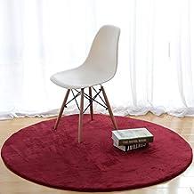 Ali Alfombra redonda moderna mesa de café simple sofá canasta alfombra grande dormitorio manta coral cachemira ( Color : Vino tinto , Tamaño : Diameter 120cm )