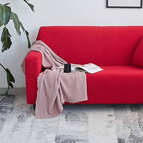 Elasticizzato tratto copridivani, lavoro a maglia tinta unita addensare morsetto soldi antisdrucciolo animale domestico cane durevole una fodera del divano-rosso 90-118inch