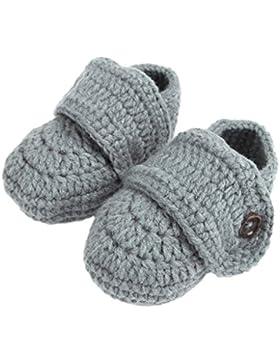 Bigood Strickschuh One Size Strick Schuh Baby Unisex süße Muster 11cm Knopf Grau