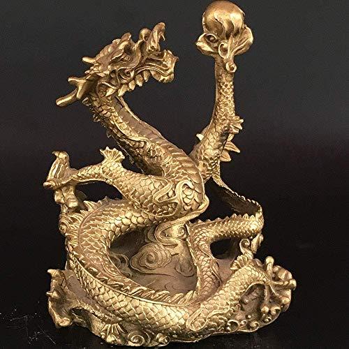 Gpzj Antiquitäten Sammlerstücke Dragon Play Ball Bronze Statue Figur/Geschenke/Büro/Ornament/Kunsthandwerk/Home Dekorationen