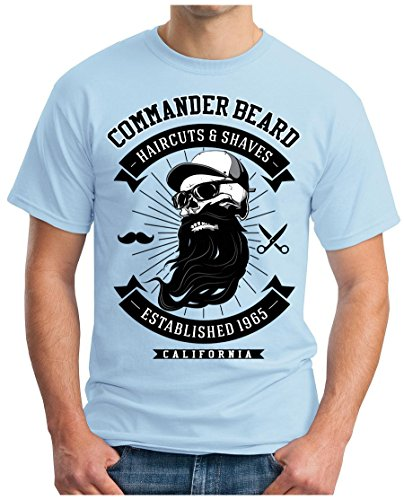 OM3 - COMMANDER-BEARD - T-Shirt GEEK, S - 5XL Himmelblau