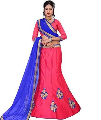 Indian Ethnicwear Bollywood Pakistani Wedding Fuschia A-Line Lehenga Semi-stitched-MAL53784