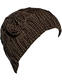 New Womens Ladies Chunky Cable Knit Beanie Hat Crochet Flower Design Warm