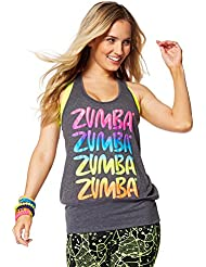 Zumba Fitness Happy Bubble Débardeur Femme Back to Black Heather FR : M-L (Taille Fabricant : M/L)