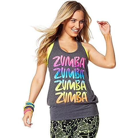 Zumba Fitness Happy - Camiseta sin mangas para mujer, color negro, talla XS/S