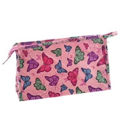 Beautiful Pink Butterfly Design PVC Coated Wash Bag