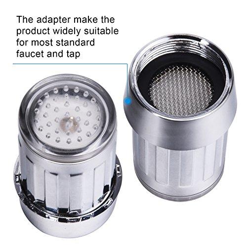 Shappy Mini Leuchtend LED Strömungen Wasserhahn Drucksensor Automatisch 7 Farben Verändern für Küche und Badezimmer, 2 Teilige Packung -