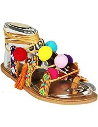 Mevina Damen Sandalen offen Hippie Bommel Ibiza Style Bohemien Flats