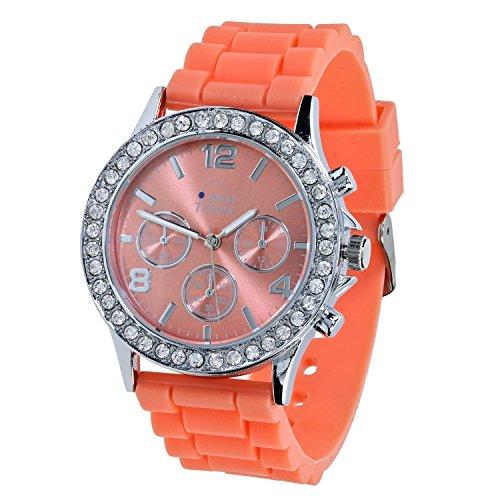 Best Times Uhr Damen-Armanduhr Quarz Chrono Look Kristall Lünette Silikonarmband orange