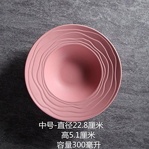 chirr Keramik Strohhut Teller Frühstück westlichen Teller Runde Suppenteller Obstteller Snack Teller 9 Zoll Rosa ()