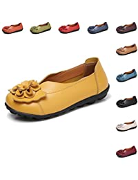 8475e0d3992150 Gaatpot Women s Flowers Leather Moccasins Casual Slip-on Loafer Boat Shoes  Driving Shoes Sandals Size