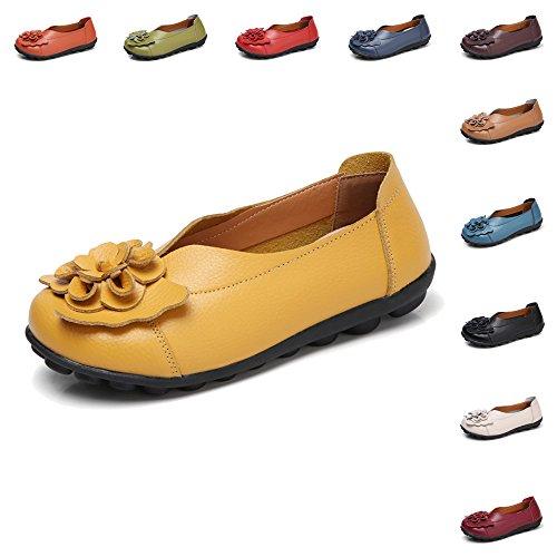 Gaatpot Damen Blumen Mokassins Atmungsaktiv Leder Bootsschuhe-Loafers, Gelb, Gr.- 38 EU/ Herstellergröße- 39