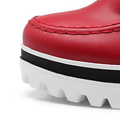 VogueZone009 Donna Punta Tonda Tacco Alto Finta Pelle Scamosciata Puro Allacciare Ballerine Rosso