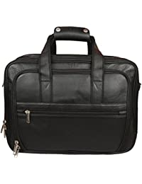 Sahil Leather Black Leather Office Bag For Men