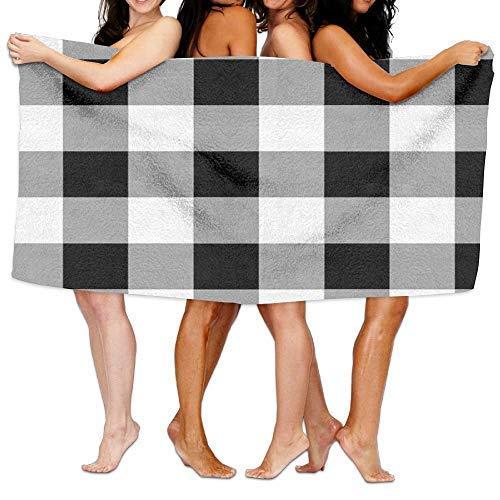 Uosliks Spa Bath Towel Wrap,Buffalo Plaid Black and White Beach Towels Bath Towels for Teen Girls Adults Travel Towel Washcloth 31
