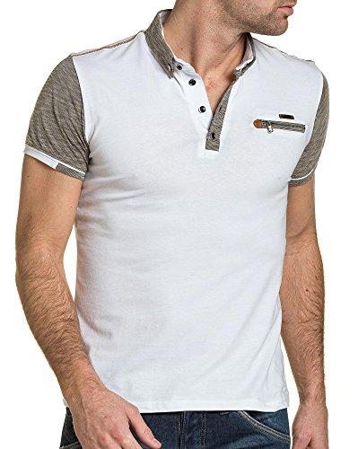 BLZ jeans - Polo weißer Mann gestreifte Platten und Reißverschluss Weiß