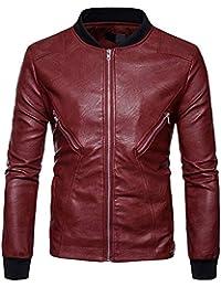 Amazon.it  giacca in pelle uomo - Rosso   Giacche   Giacche e ... 1fc0228853d