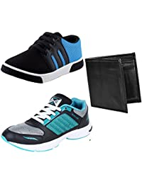 Bersache Men Combo Pack Of 3 Casual Shoes With Sports Shoes & Wallet (6 UK)