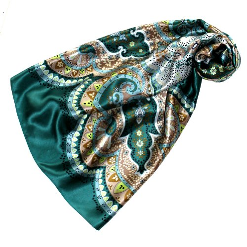 LORENZO CANA Luxus Seidentuch aufwändig bedruckt Tuch 100% Seide 90 x 90 cm harmonische Farben Damentuch Schaltuch 89082
