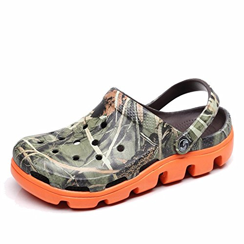 Sommer neuen Jungen europäischen römischen Loch Schuhe Casual Sandalen dicken unteren Sport Strand Schuhe Garten weichen Boden Sandalen Outdoor Schuhe Männer,Tarnung and Orange US=8.5,UK=8,EU=42,CN=43