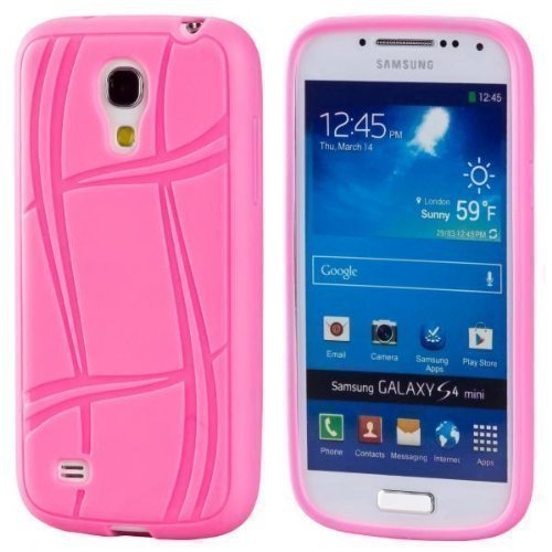 ECENCE Samsung Galaxy S4 mini i9190 Silikon TPU case schutz hülle handy tasche cover schale retro rot weiss gepunktet 12040404 Pink Color Line