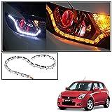 #4: Vheelocityin Custom Car Crysal DRL Daytime Running Light with Orange Audi Style moving Indicators For Maruti Suzuki Swift Old