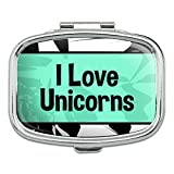 Rectangle Pill Case Trinket Gift Box I Love Heart Places Things U-Z - Unicorns