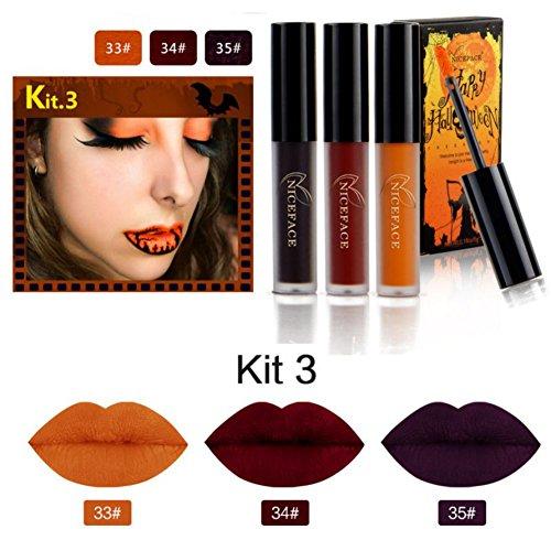 SOMEAS Halloween Art Lippentöne, Matt flüssiger Lippenstift wasserdichter Lippenglanz 3Pcs / Satz KIT (Halloween Up Tipps Für Make)