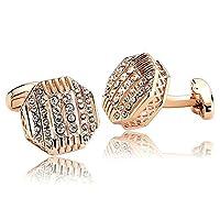 Adisaer Stainless Steel Cufflinks for Men Polygon Cubic Zirconia Rose Gold Business Wedding Cufflink
