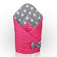 Minky Swaddle WRAP Newborn Infant Bedding Blanket Cotton Sleeping Bag Cotton (Pink - Big White Stars on Grey Background)