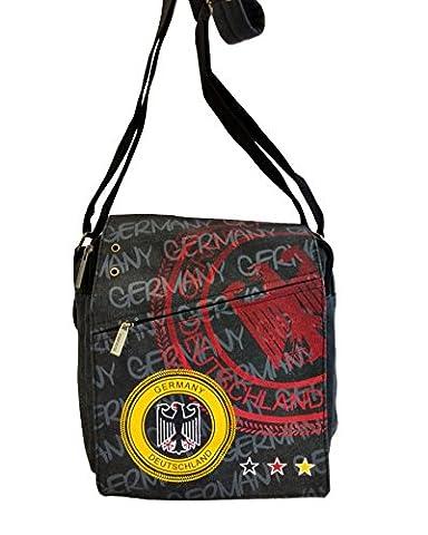 Robin Ruth Canvas kleine Umhängetasche/Überschlagtasche Germany in schwarz (Maße: LxHxT 23x23x8 cm)