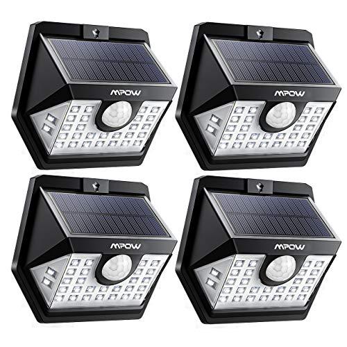 Solarlampe für Außen, 200 Lumen Superhell, 270°Weitwinkel, Solarleuchte mit Bewegungsmelder 120°, IP65 Wasserdicht, für Garten, Garage, Balkon, Hof usw.- 4 Stück