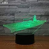 Lampada da notte 3D Lampada da illusione 3D Barca a vela Barca a vela Yacht Design Lampada da notte 3D subacquea Acrilico laser Illusione 7 Colori Bambini Amici Regalo Giocattoli 1 Pz-Ea