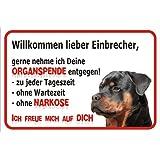 Schild Vorsicht Rottweiler - Willkommen lieber Einbrecher (20 x 30cm)