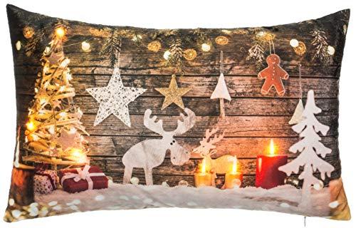 Brandsseller Weihnachtskissen LED Beleuchtet Timer Dekokissen Leuchtkissen 6 LED`s Zierkissen 50x30 cm Weihnachtsdeko Rentier Holz