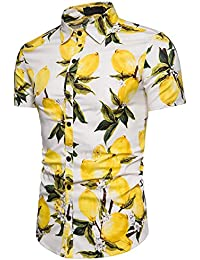 Pinkpum Men's Hawaiian Shirts Short Sleeve Floral Fancy Hawaii Dress Summer Lemon Pattern S-XXL