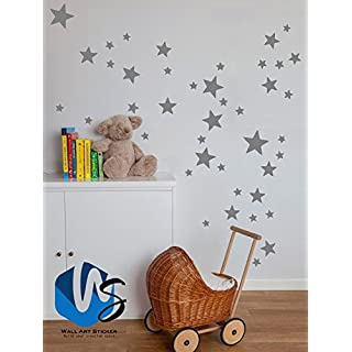 Walldestickers set of 55 Mixed size Stars Wall Stickers Kid Decal Art Nursery Bedroom Vinyl Decoration (Medium Grey)