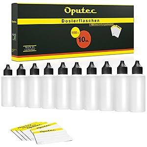 10 x 100 ml Oputec Dosierflaschen mit Tröpfler und 10 Etiketten zur Dosierung und Aufbewahrung von Flüssigkeiten | Liquidflasche E-Liquids | Made in Germany | Leere Kunststoffflaschen Tropfflaschen