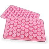 HENGSONG Mini Herzform Silikon Eiswürfel Schokoladen Pralinen Gießform Backform Kuchenform, Rosa