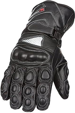 Gants de moto en cuir étanches Charbon de protection thermique, Black, 100