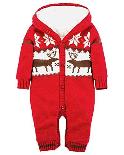 Minetom Winter Weihnachten Elche Gestrickt Spieler für Baby Mädchen Jungen Jumper Overall Unisex Jumpsuit mit Kapuze Rot 66cm (Roter Apfel Kind Kostüme)